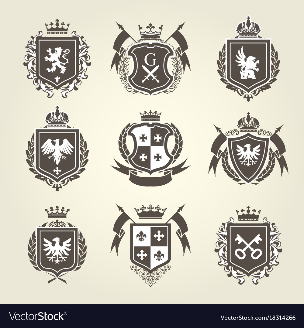 Royal blazons and coat arms - knight heraldic