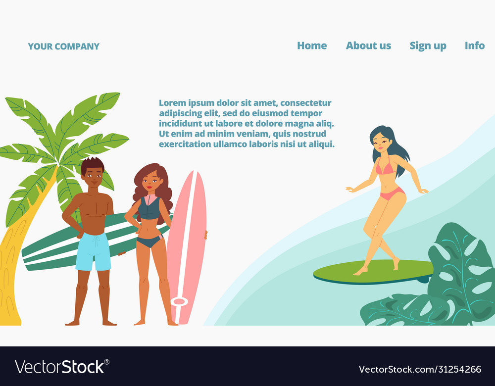 Sea surfing surfers extreme sports landing page
