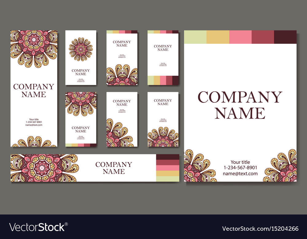 Set of business cards vintage pattern in retro vector image reheart Gallery