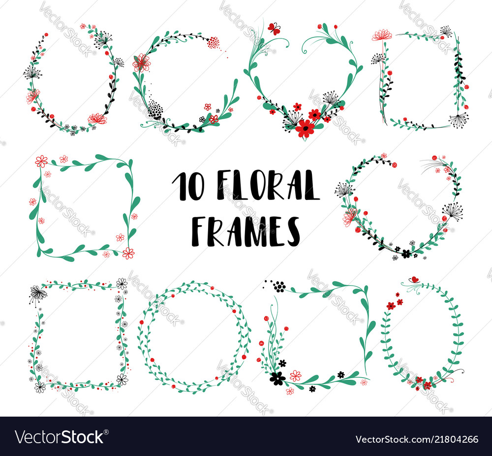 Set of isolated floral frames
