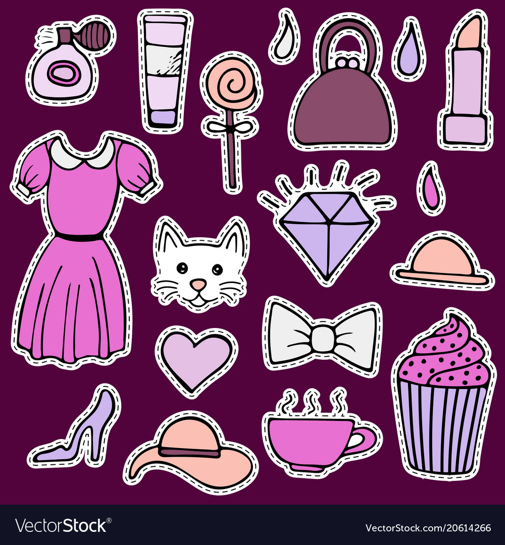 Set of lovely hand-drawn stickers isolated