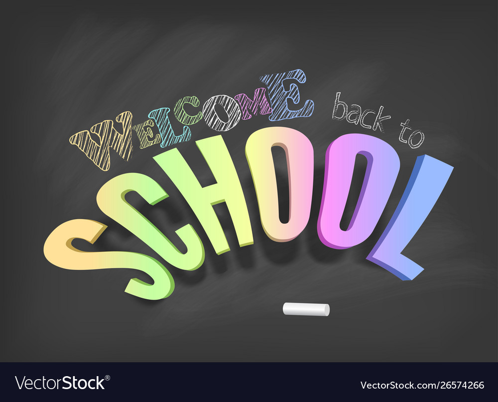 Welcome back to school concept colorful 3d