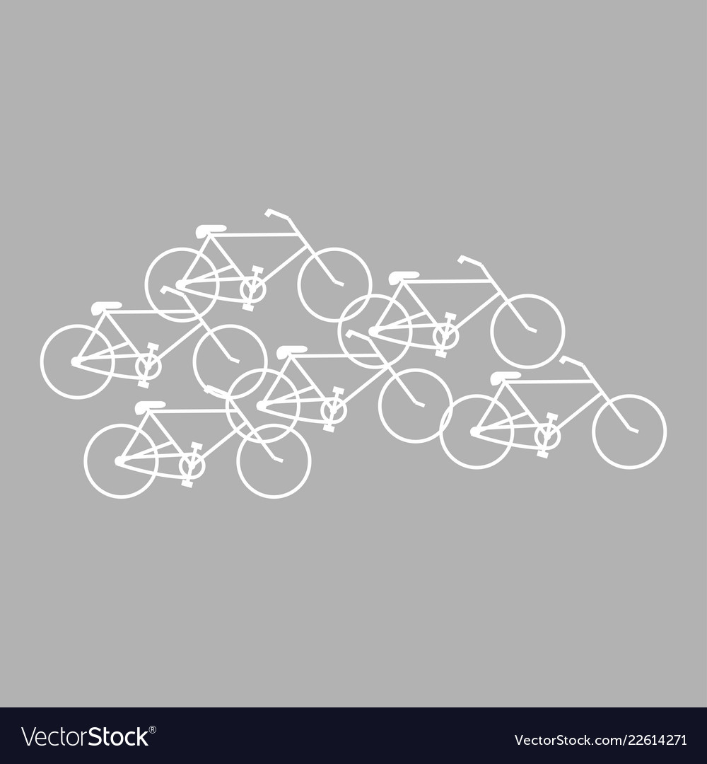 Bicycles white color on gray background