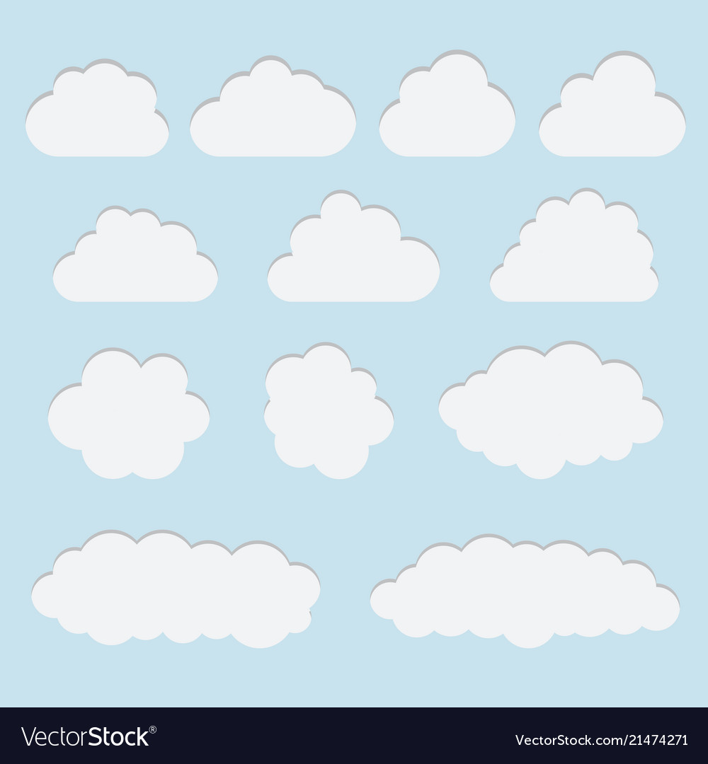 Collection of white paper cut out cloud icons