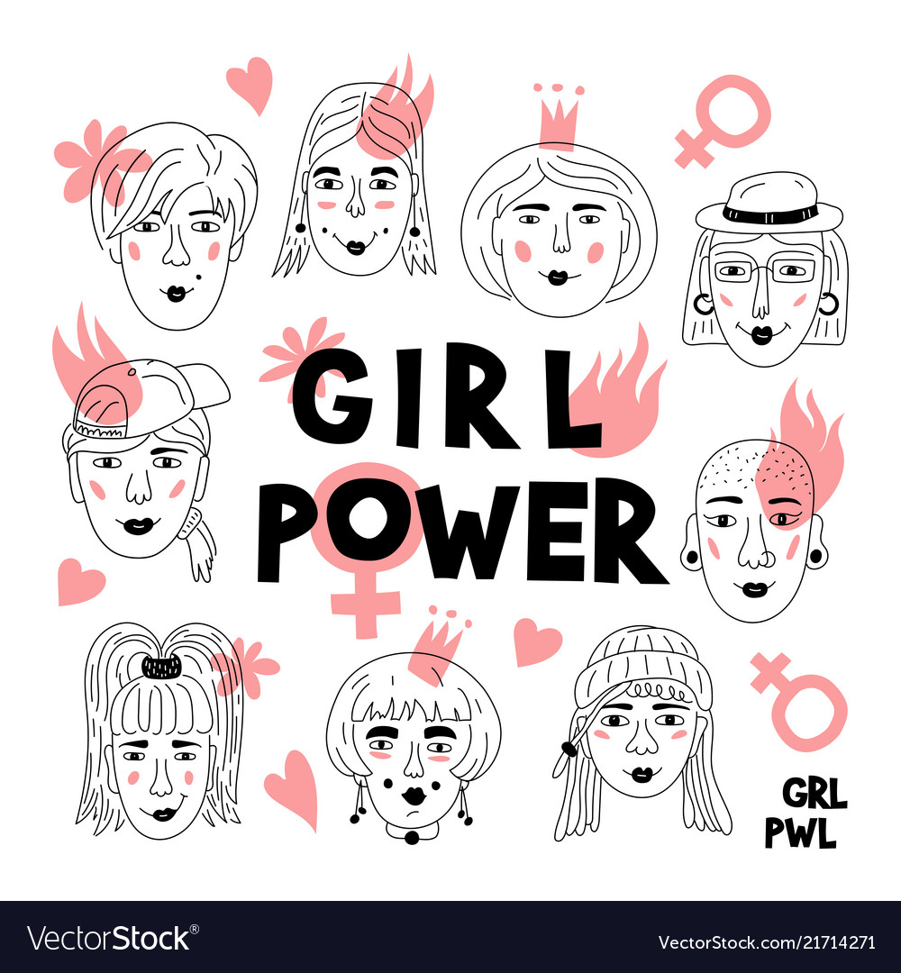 Feminism poster girl power card womens faces