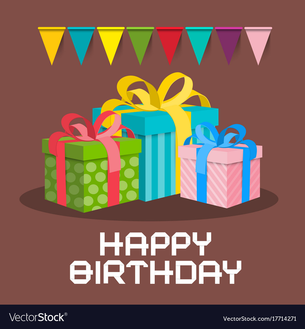 Gift Boxes Happy Birthday Retro Card
