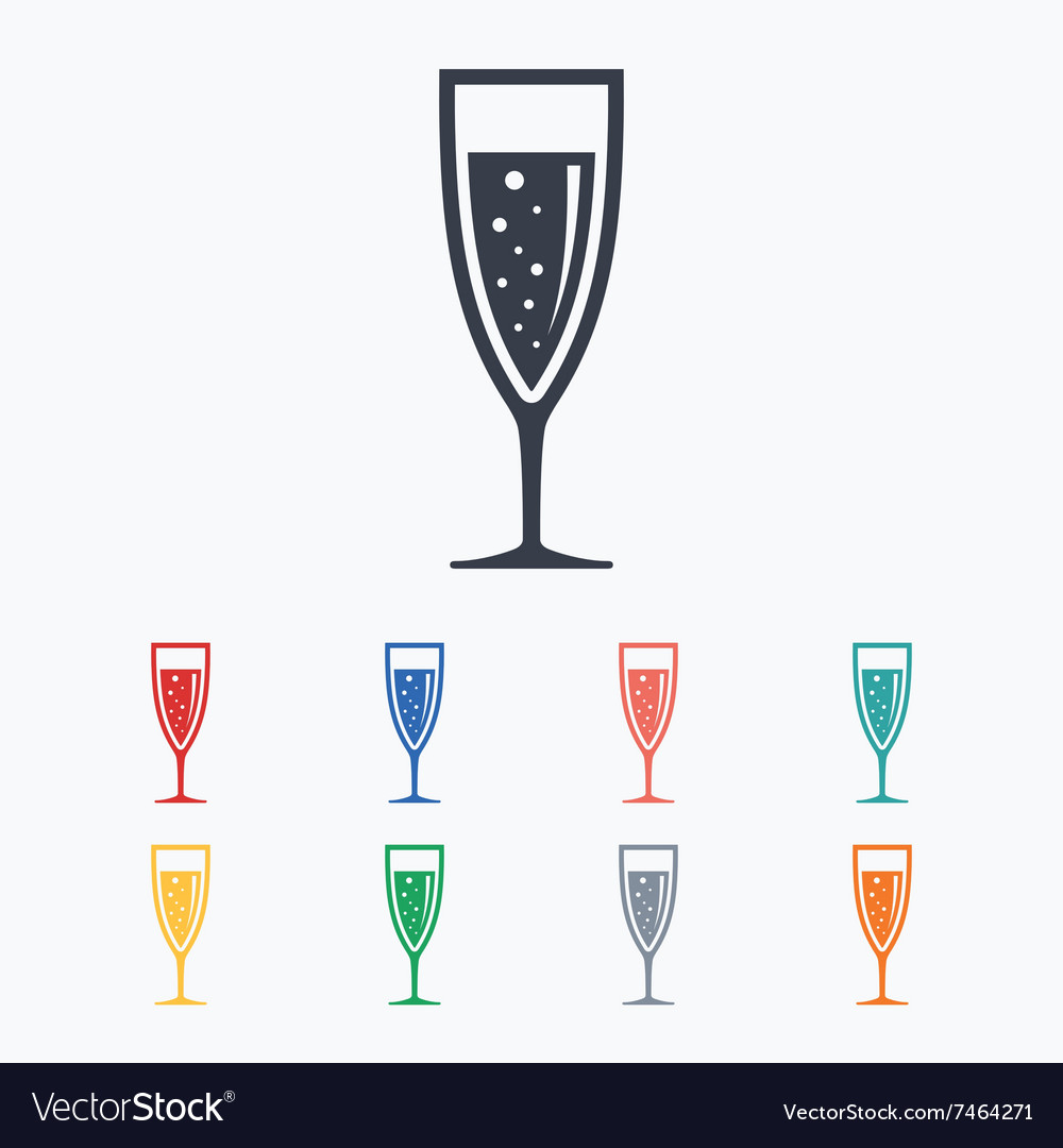 Glass of champagne sign icon Alcohol drink