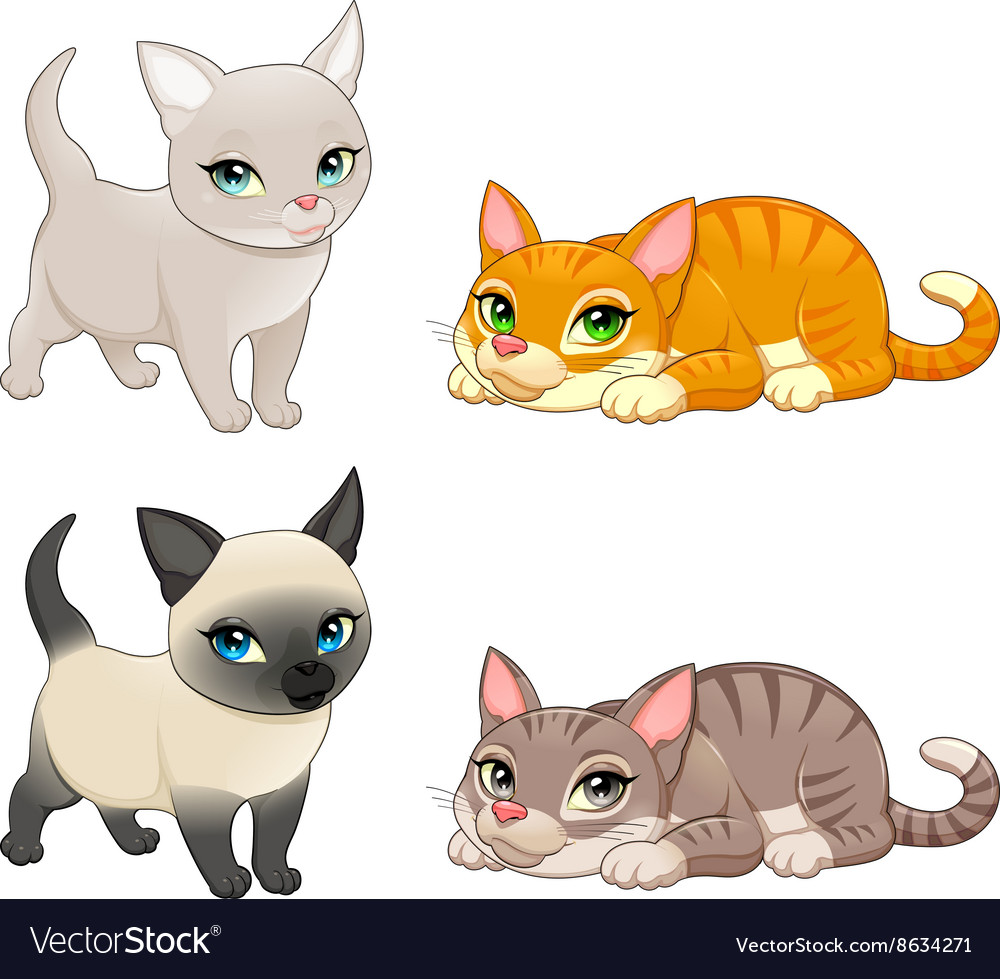 5497a52a47fe9 Group of cute cats with different colors