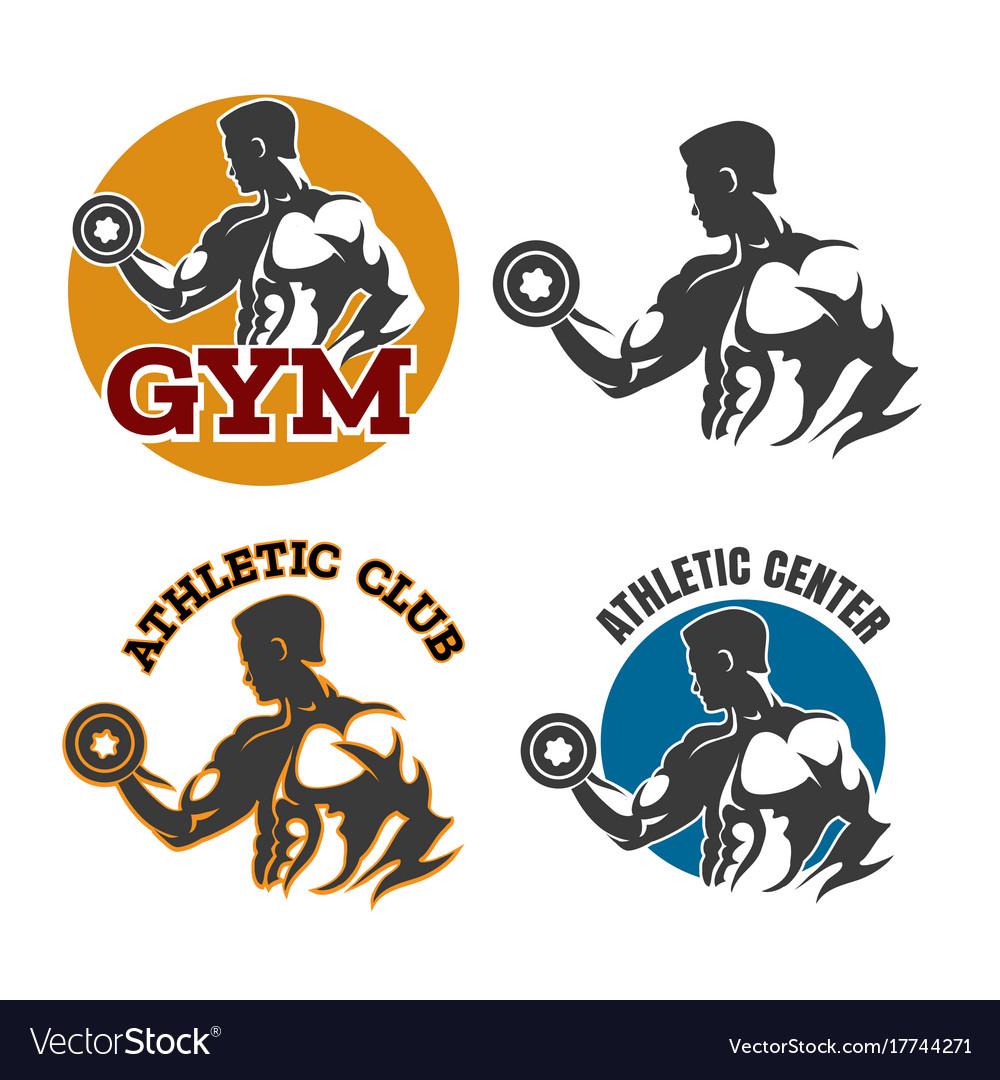 Gym or fitness emblem set