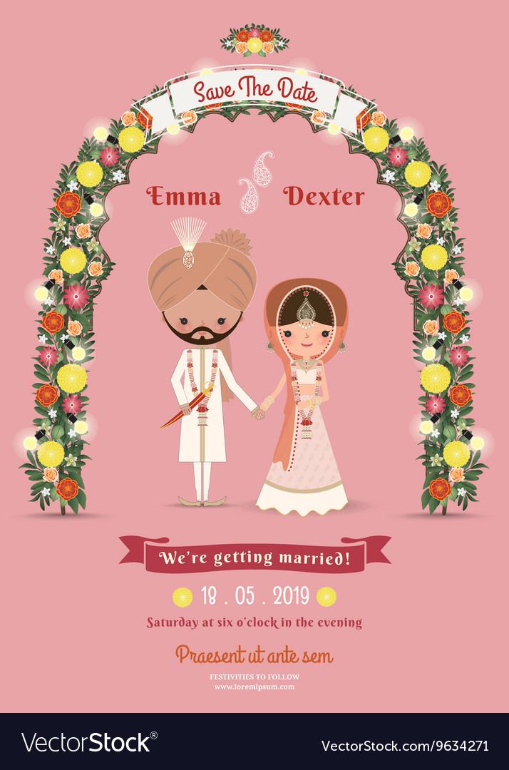 Indian Wedding Bride Groom Cartoon Romantic Pink
