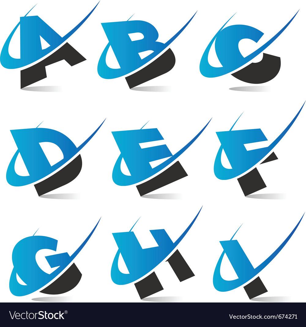 Swoosh alphabet logo set 1 vector image