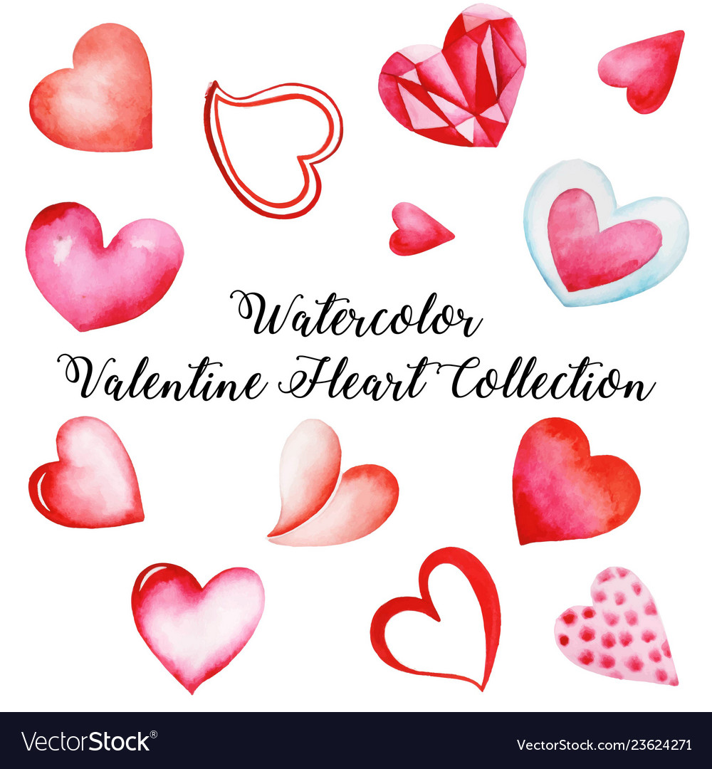 Watercolor valentine heart collection