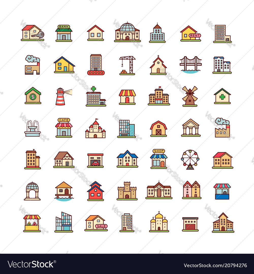 Achitecture icons set