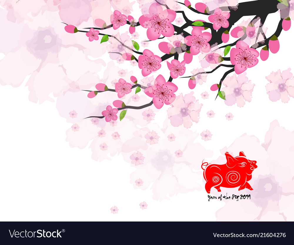 Chinese New Year Card With Plum Blossom Royalty Free Vector