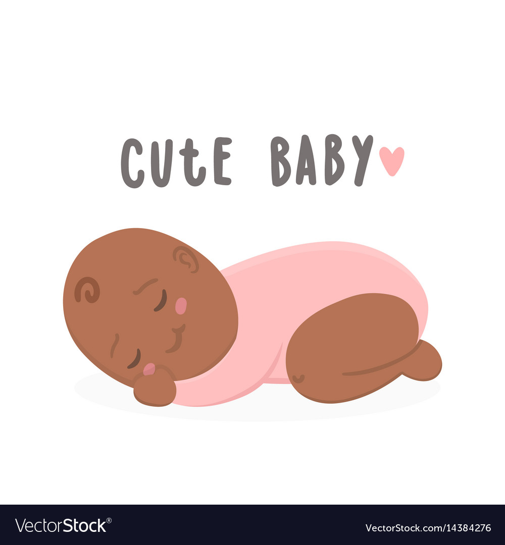 Cute Black New Boy Baby Girl Royalty Free Vector Image