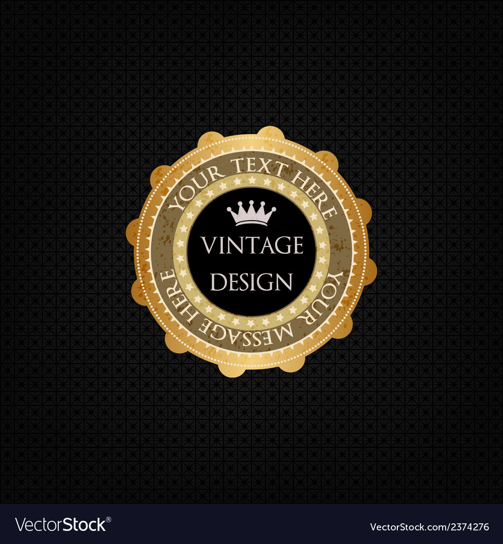 Decorative background and golden badge vector image