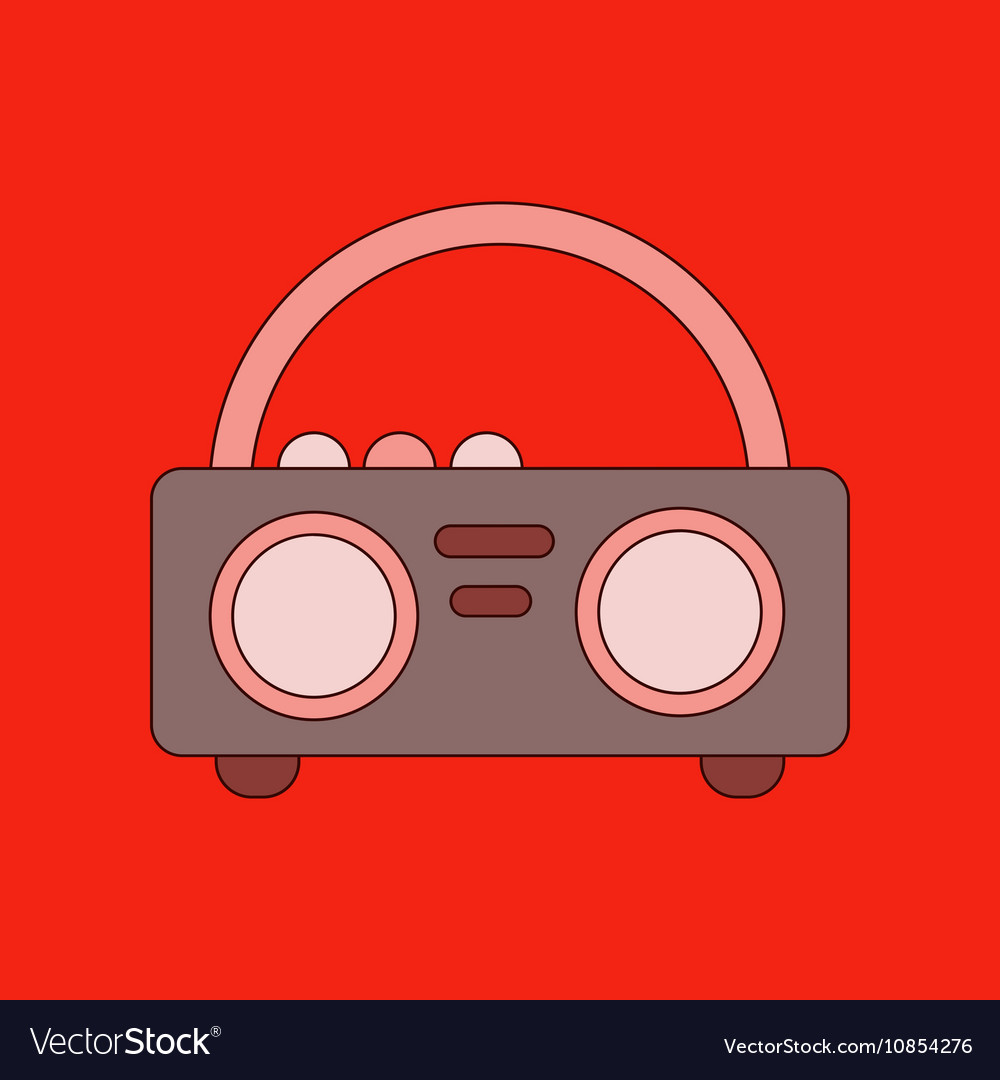 Flat icon on background tape recorder