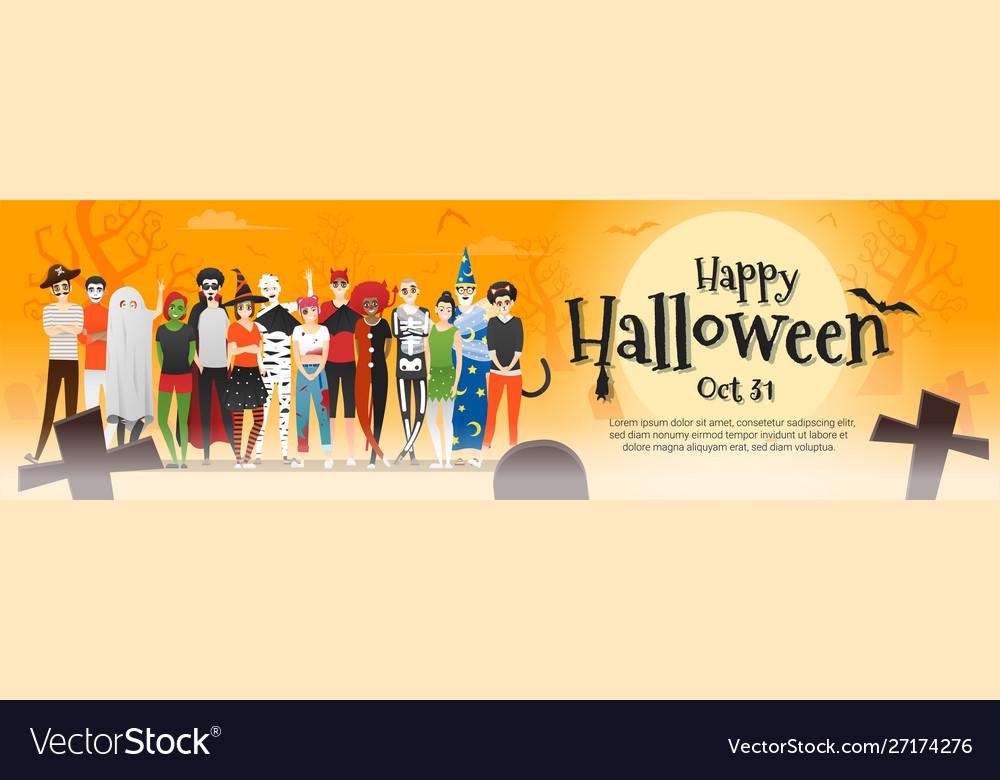 Group teens in halloween costume concept