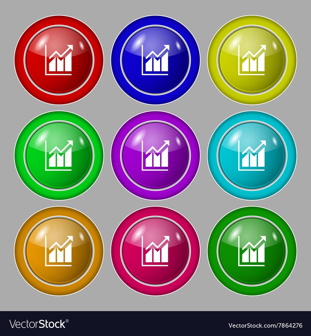 Growing bar chart icon sign symbol on nine round