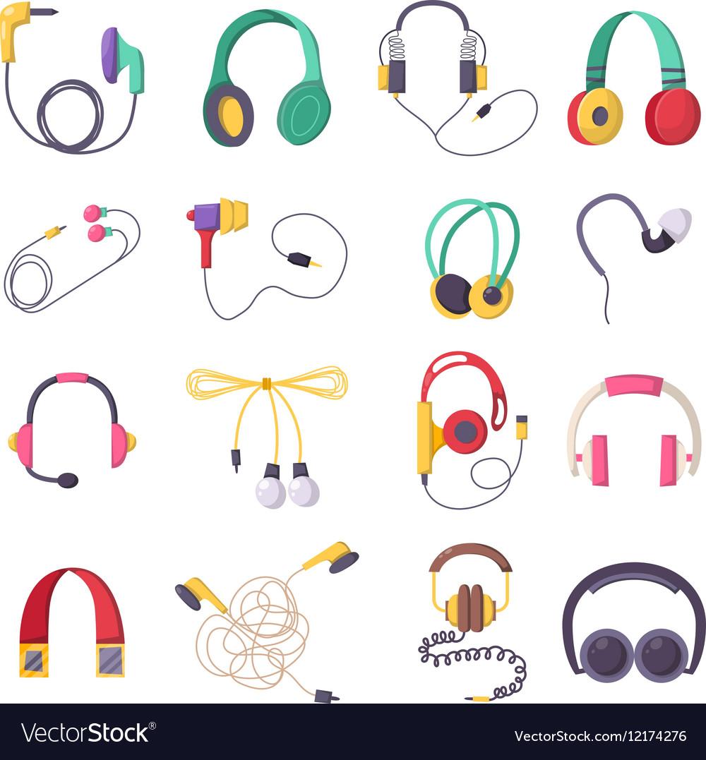 Headphone icons set on white background