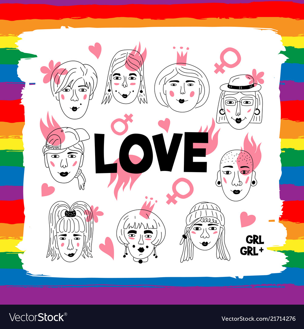 Lesbians couple gay people love lettering poster