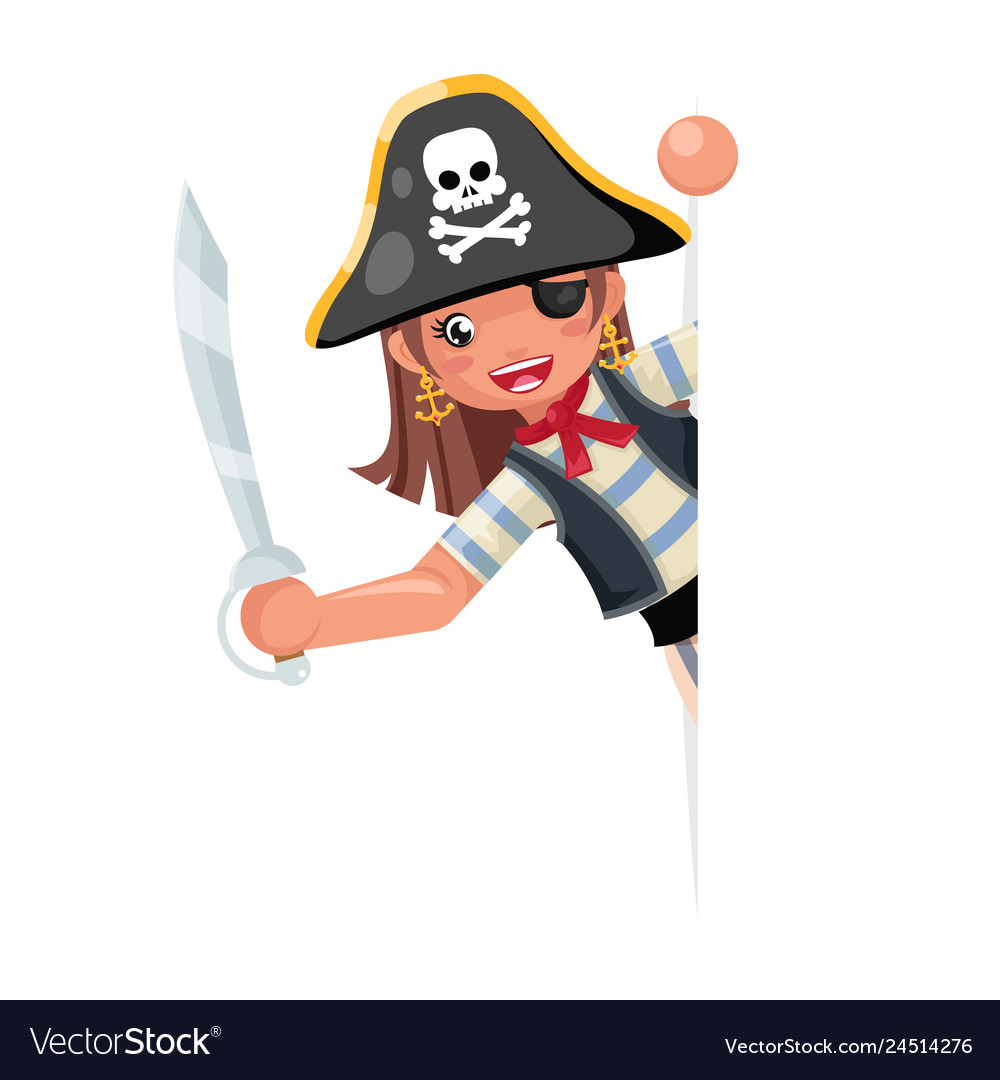 Look out corner pirate party cute girl child