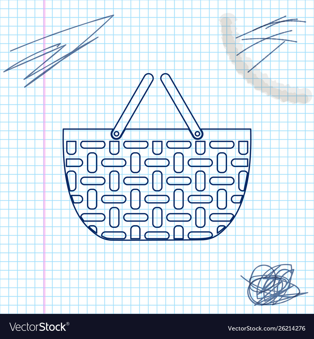 Shopping basket line sketch icon isolated on white