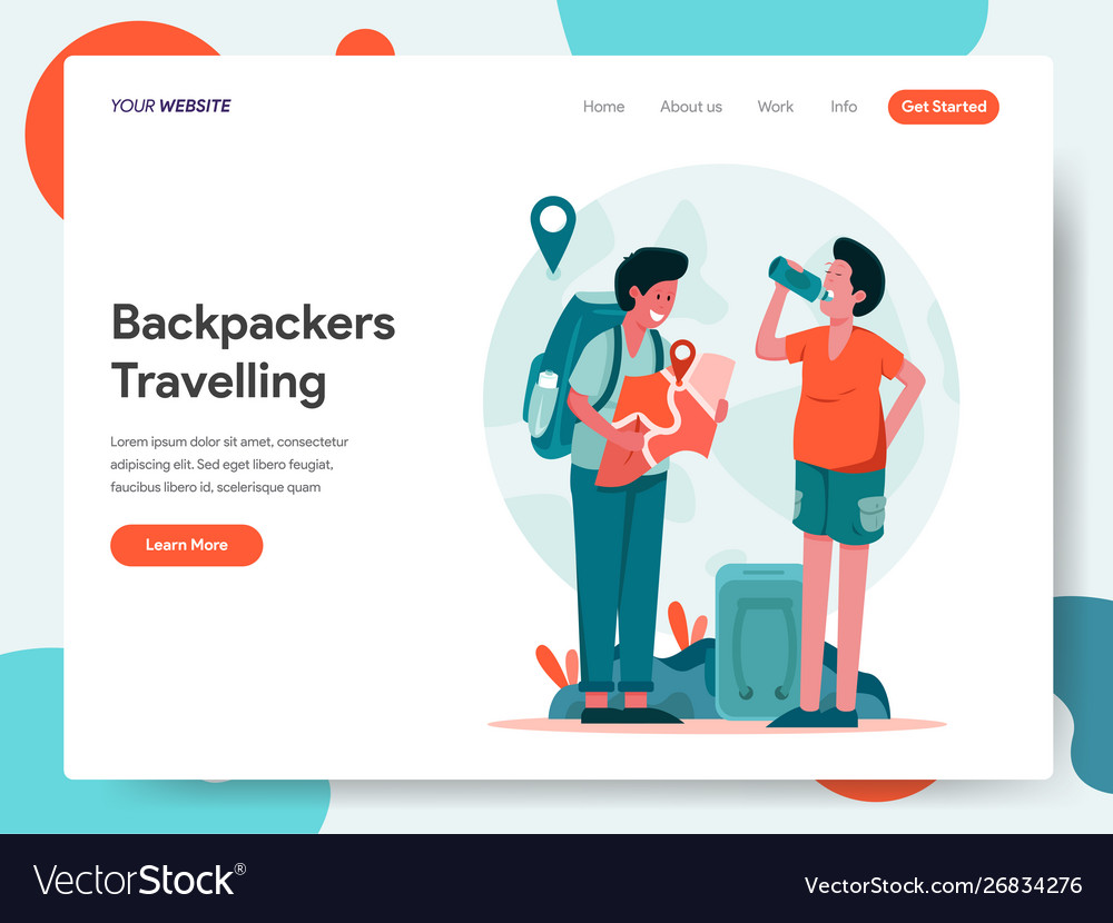 Travelling backpackers concept