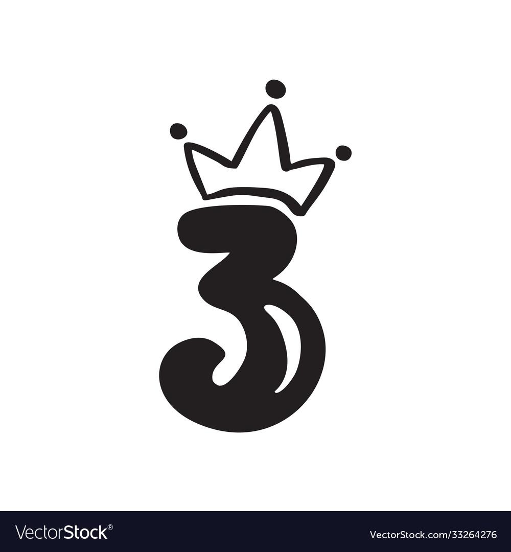 Vintage plump cute number 3 with crown