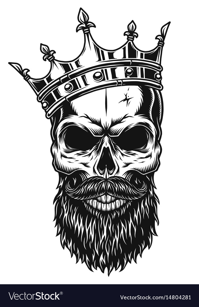 black and white skull in crown royalty free vector image free vector crown eps free vector crown clip art