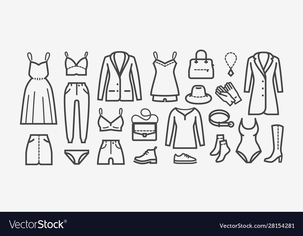 Clothing icon set in linear style shopping
