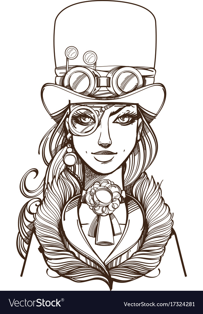 20f9ffbc0 Girl in a top hat and monocle portrait of a