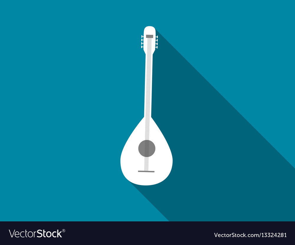 Guitar icon with long shadow vector image