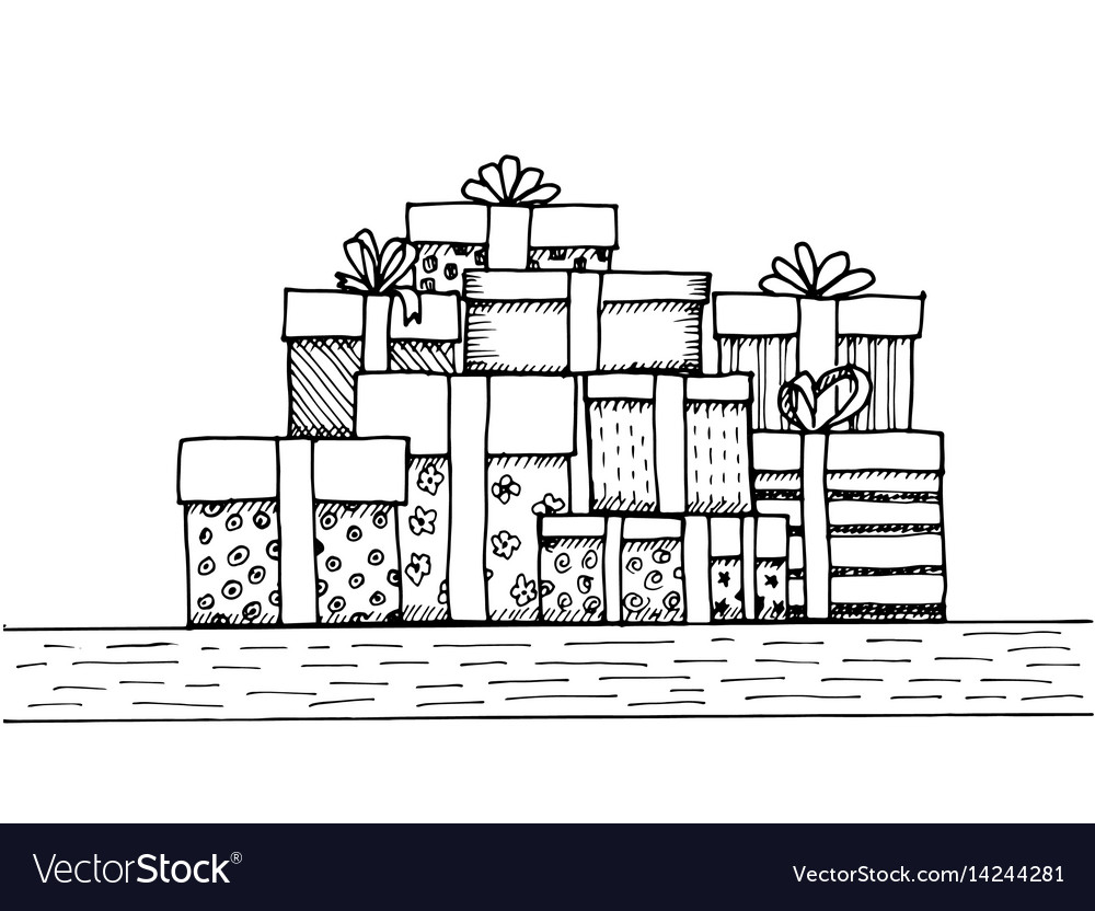 Hand - drawn pile of gifts on white background vector image