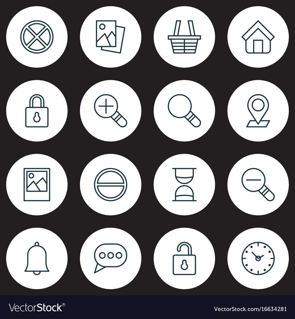 Icons set collection of increase loup safeguard vector image