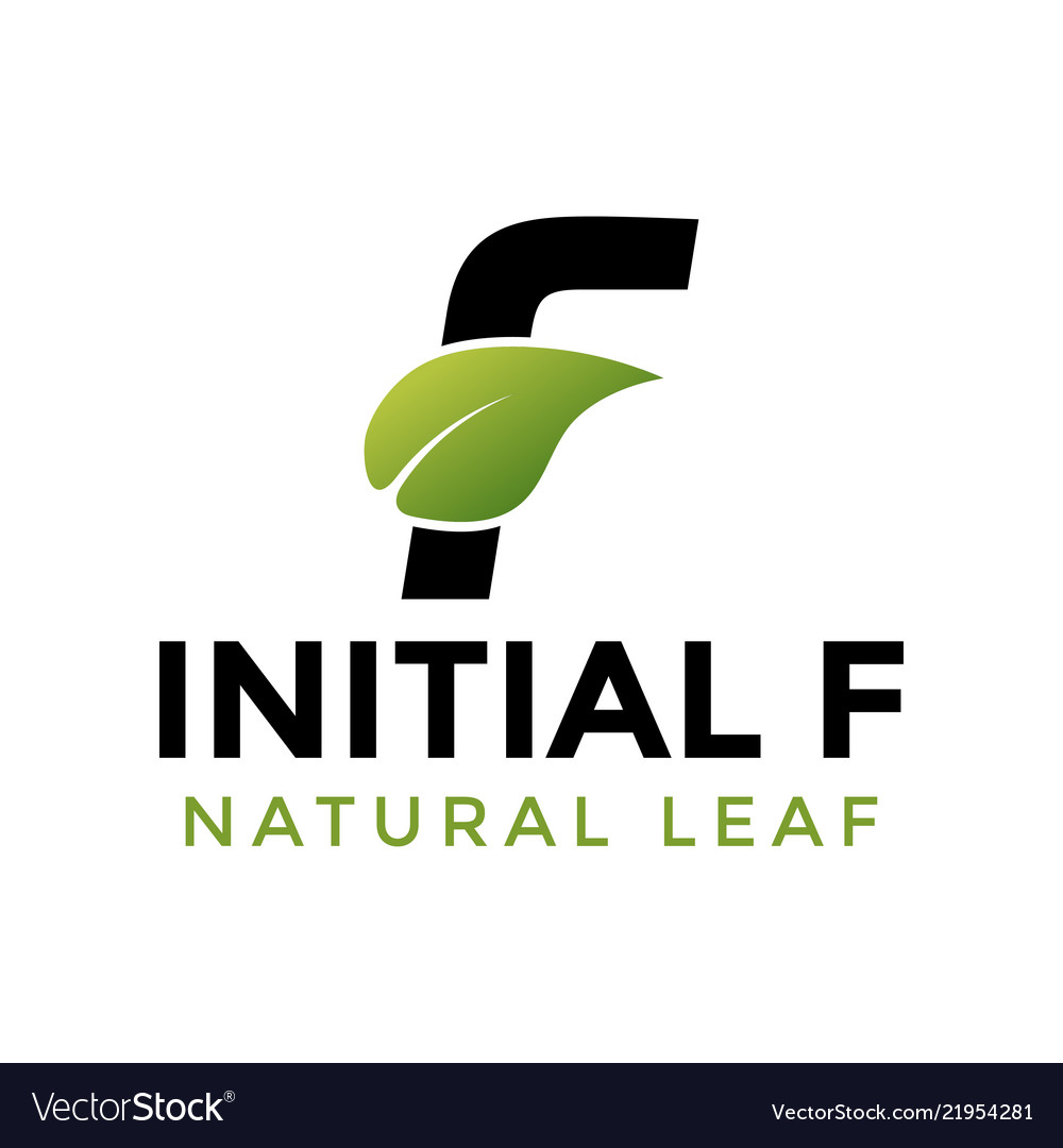 Initial letter f and leaf logo icon design