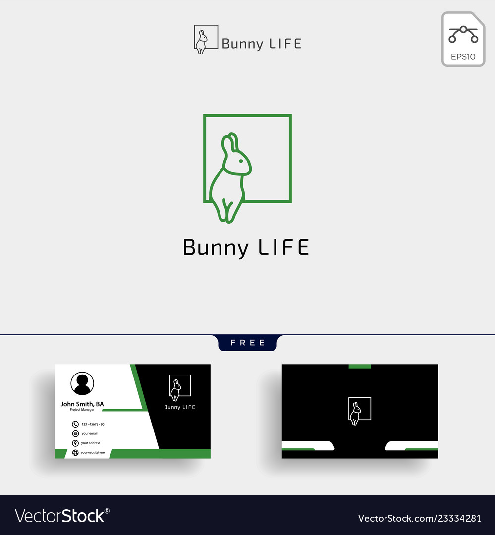 Rabbit bunny logo template with business card
