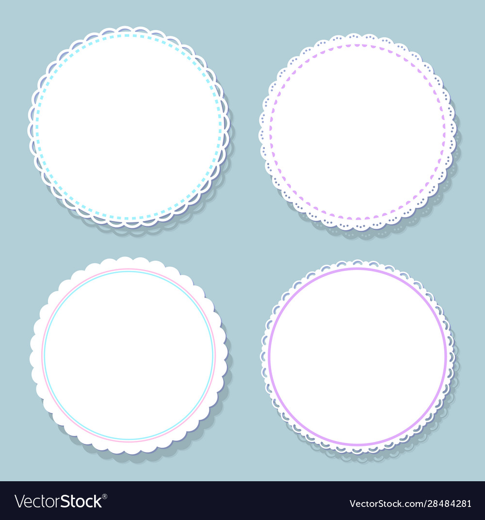 Round napkins with various edges isolated on grey