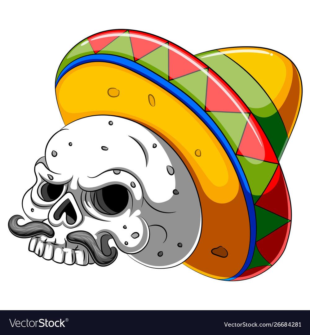 Skull head cartoon with sombrero