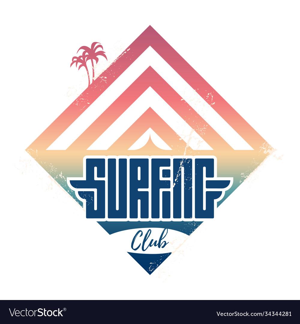 Surfing club - vintage label california west