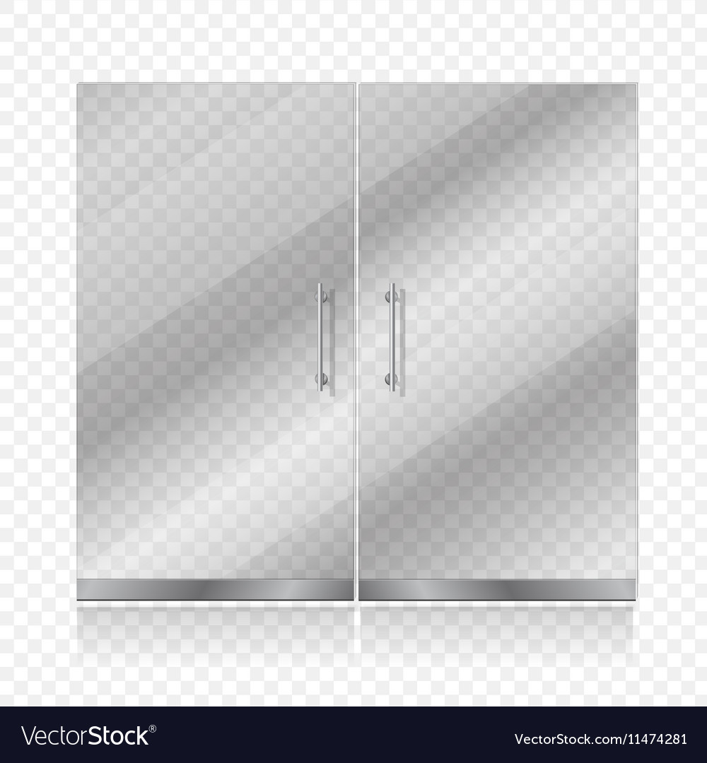 Transparent glass door isolated
