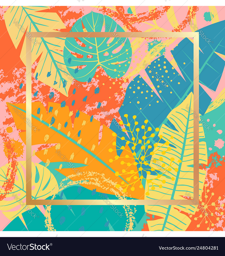 Tropical background with colorful leaves and