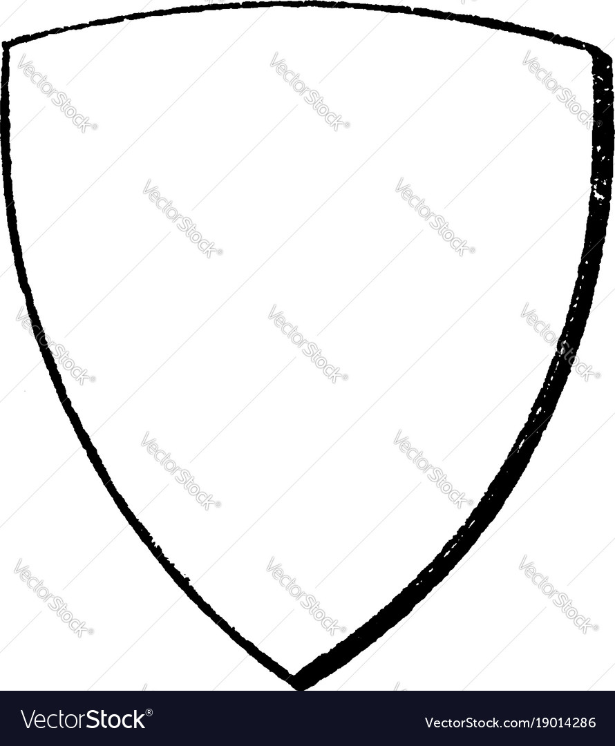 Bouche shield is a curvy bouche heraldic shield vector image