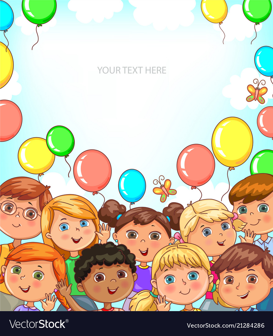 Children portraits and balloons banner with place