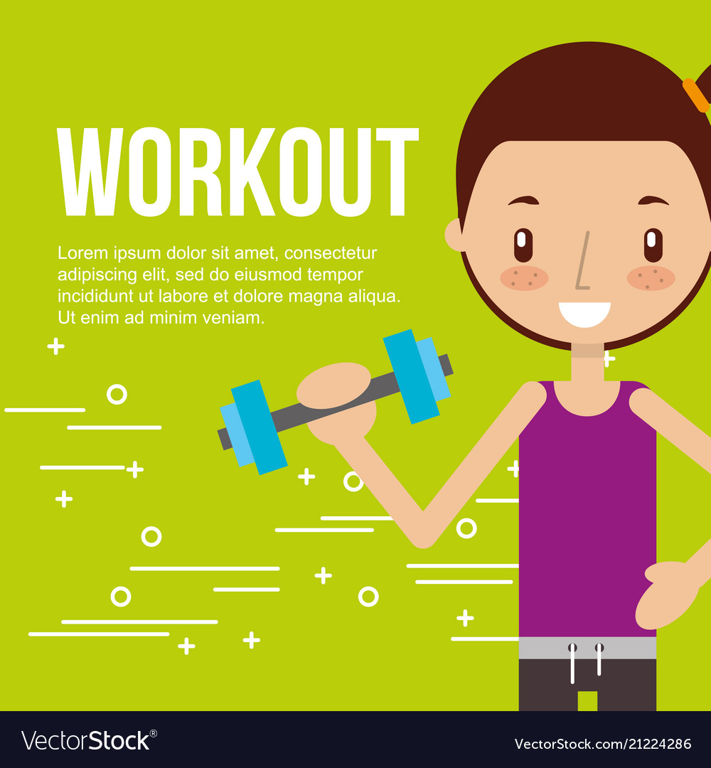 Cute girl training with dumbbell fitness