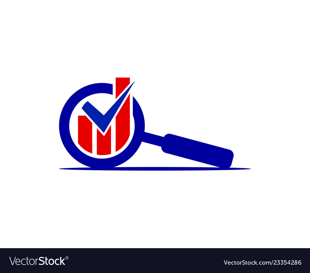 Magnifying glass with chartbar logo template