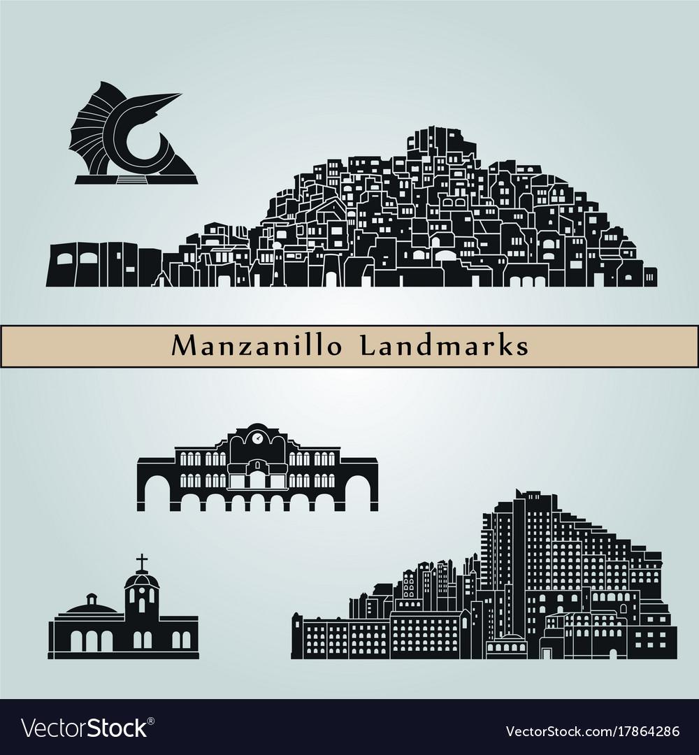 Manzanillo landmarks vector image