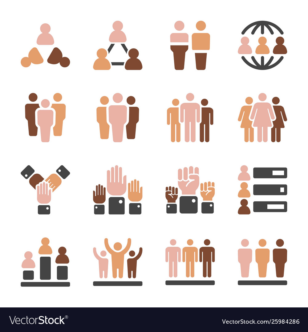 Population skin tone icon set vector