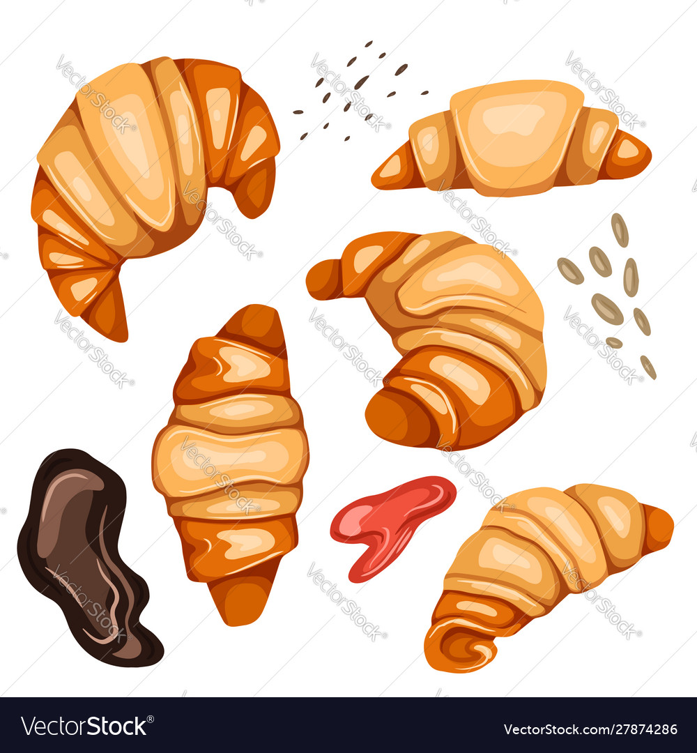 Set cartoon croissants and various types of