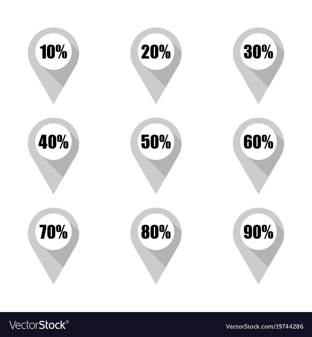 set of grey map pins with different percentage vector image